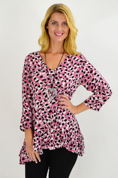 Rose Pink Animal Print Tunic Top - I Love Tunics