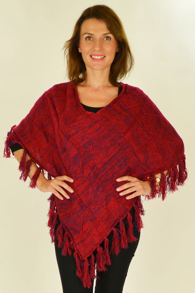 Red Knit Tassel Poncho