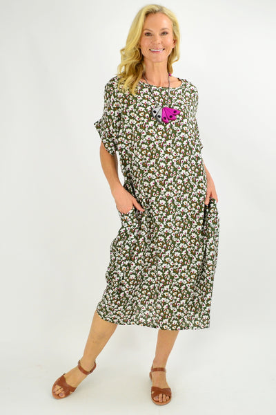 Olive Green Tiny Floral Tunic Dress - I Love Tunics