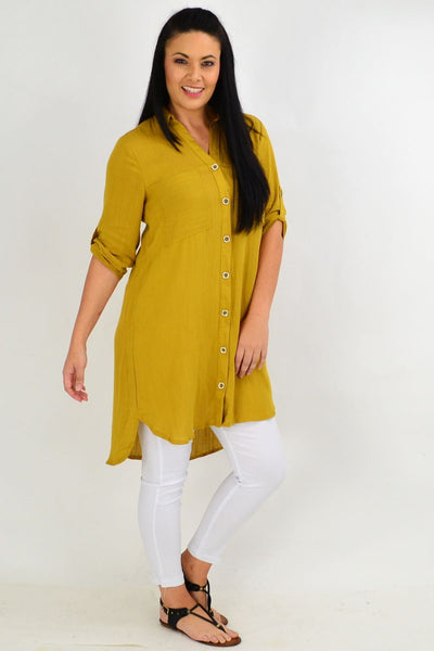 Mustard Square Button Tunic Shirt | I Love Tunics | Tunic Tops | Tunic | Tunic Dresses  | womens clothing online