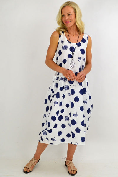 Navy Spot Long Linen Tunic Dress