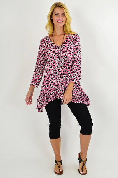 Rose Pink Animal Print Tunic Top