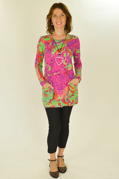 Pink Green Splash Tunic Top