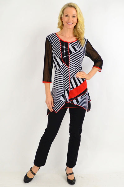 Barbara Black White Stripe Tunic Top