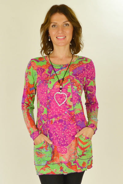 Pink Green Splash Tunic Top - at I Love Tunics @ www.ilovetunics.com = Number One! Tunics Destination