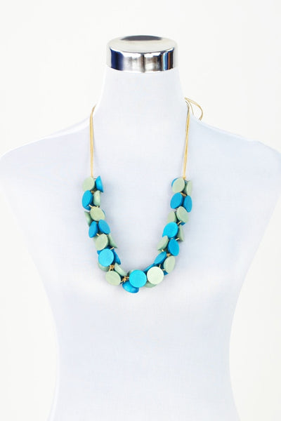 Aqua Blue Disks Necklace | I Love Tunics | Tunic Tops | Tunic | Tunic Dresses  | womens clothing online
