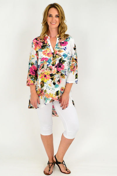Cream Floral Pink Button Up Sleeve Tunic Shirt