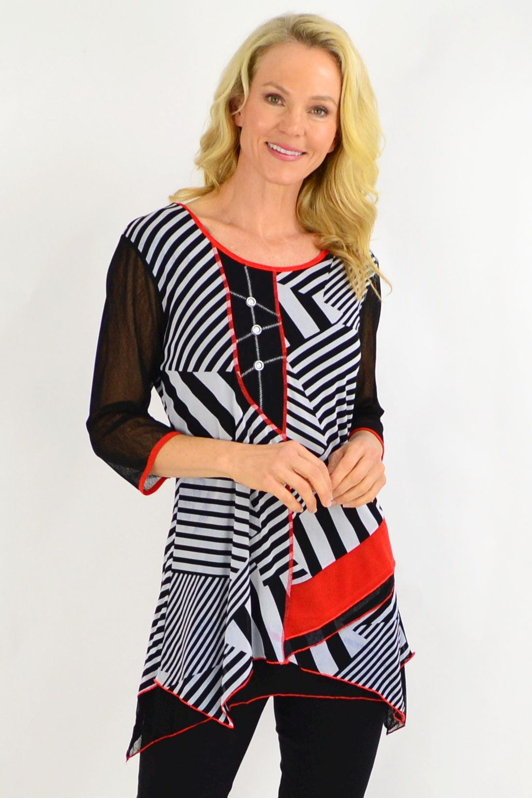Barbara Black White Stripe Tunic Top | I Love Tunics | Tunic Tops | Tunic | Tunic Dresses  | womens clothing online