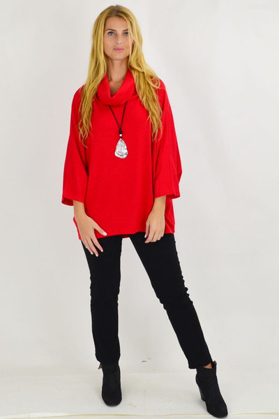 Red Jessie Roll Neck Bamboo Wool Tunic