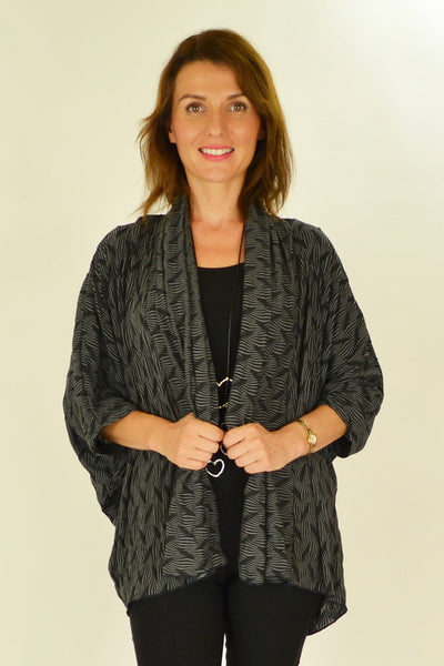 Black White Ribbed Cardigan - at I Love Tunics @ www.ilovetunics.com = Number One! Tunics Destination