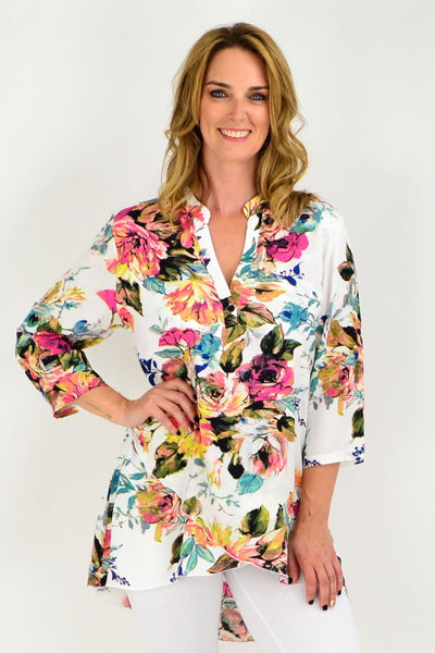Cream Floral Pink Button Up Sleeve Tunic Shirt | I Love Tunics | Tunic Tops | Tunic | Tunic Dresses  | womens clothing online
