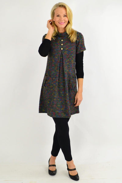 Skivvy Neck Button up Detail Tunic Dress