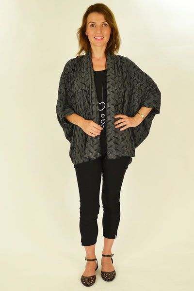 Black White Ribbed Cardigan