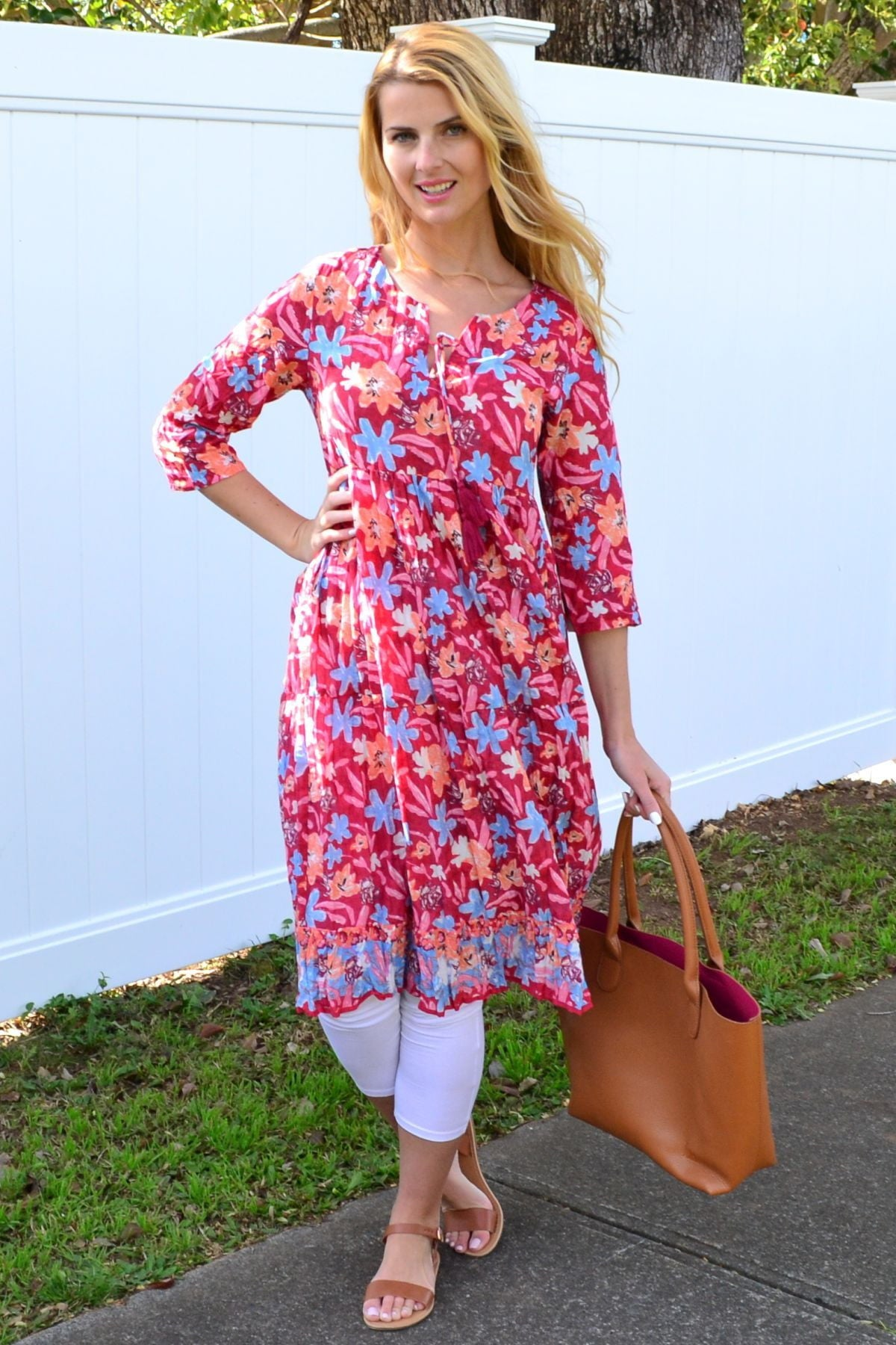 Pink Pattern Tie Neck Tunic Dress | I Love Tunics | Tunic Tops | Tunic | Tunic Dresses  | womens clothing online