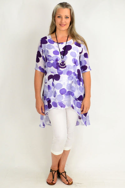 Purple Spot Relaxed Tunic Top