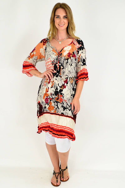 Orange Red Leaf Crinkle Tie Tunic Dress