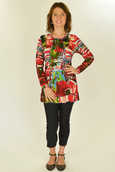 Playful Red Splash Tunic Top