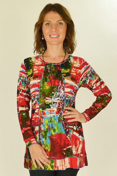 Playful Red Splash Tunic Top - at I Love Tunics @ www.ilovetunics.com = Number One! Tunics Destination