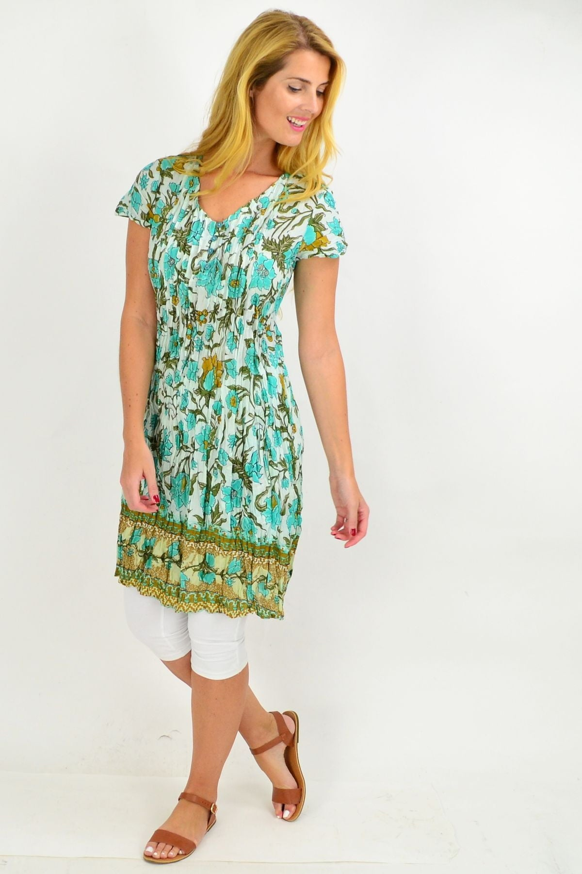 Blue Tree Flower Cotton Tunic Dress | I Love Tunics | Tunic Tops | Tunic | Tunic Dresses  | womens clothing online