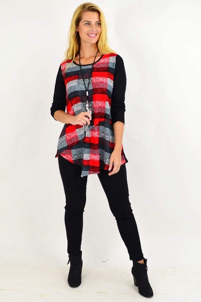Red Grey Overlay Tunic Top