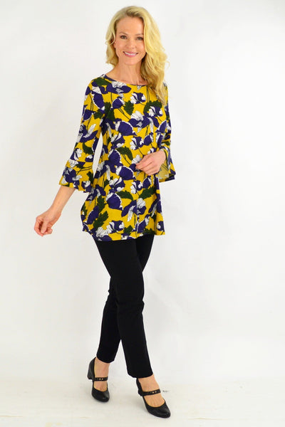 Mustard Floral Boat Neck Tunic Top