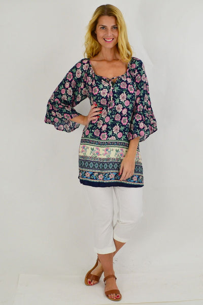 Navy Pink Floral Crinkle Tie Tunic Top | I Love Tunics | Tunic Tops | Tunic | Tunic Dresses  | womens clothing online