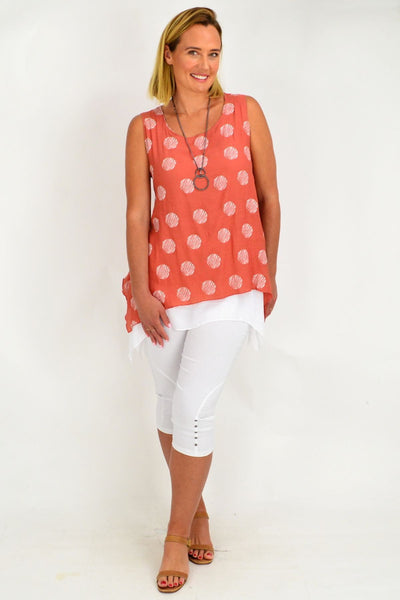 Rust Spot Overlay Tunic Top