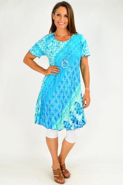Aqua Abstract Reversible Tunic Dress by Orientique