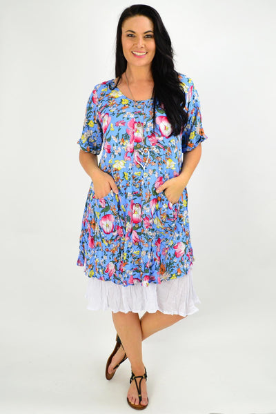 Blue Ellie Floral Crinkle Tunic Dress