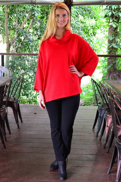 Red Jessie Roll Neck Bamboo Wool Tunic | I Love Tunics | Tunic Tops | Tunic Dresses | Women's Tops | Plus Size Australia | Mature Fashion