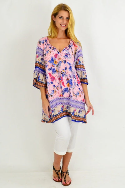 Pink Garden Crinkle Tunic Blouse
