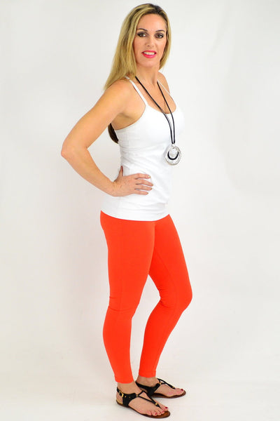 Ankle Length Orange Leggings