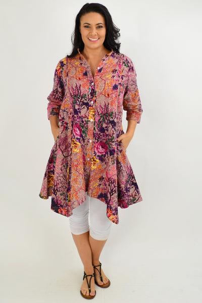 Pink Rose Stand Collar Tunic Shirt