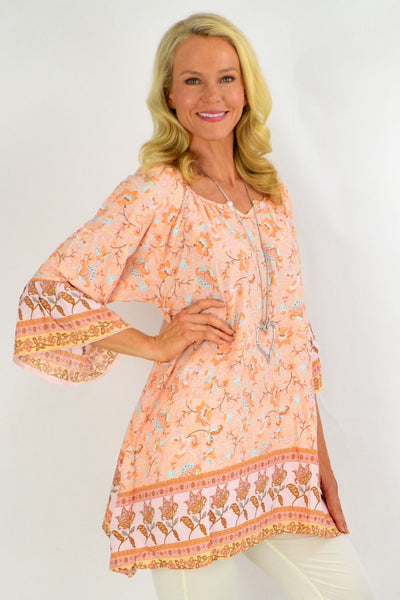 Apricot Floral Light & Pretty Tunic Top