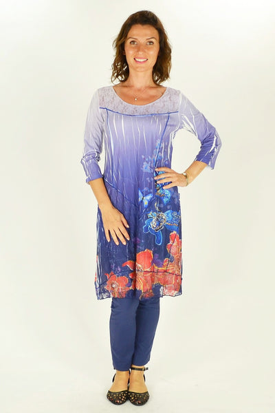 Long Flowers and Butterfly Tunic