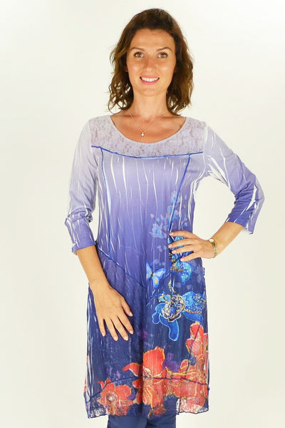 Long Flowers and Butterfly Tunic - at I Love Tunics @ www.ilovetunics.com = Number One! Tunics Destination