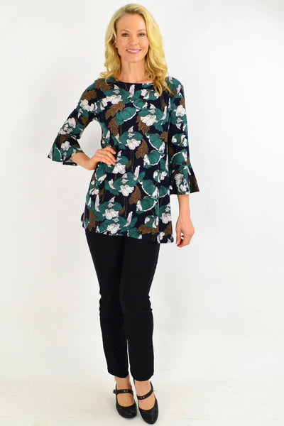 Green Floral Boat Neck Tunic Top
