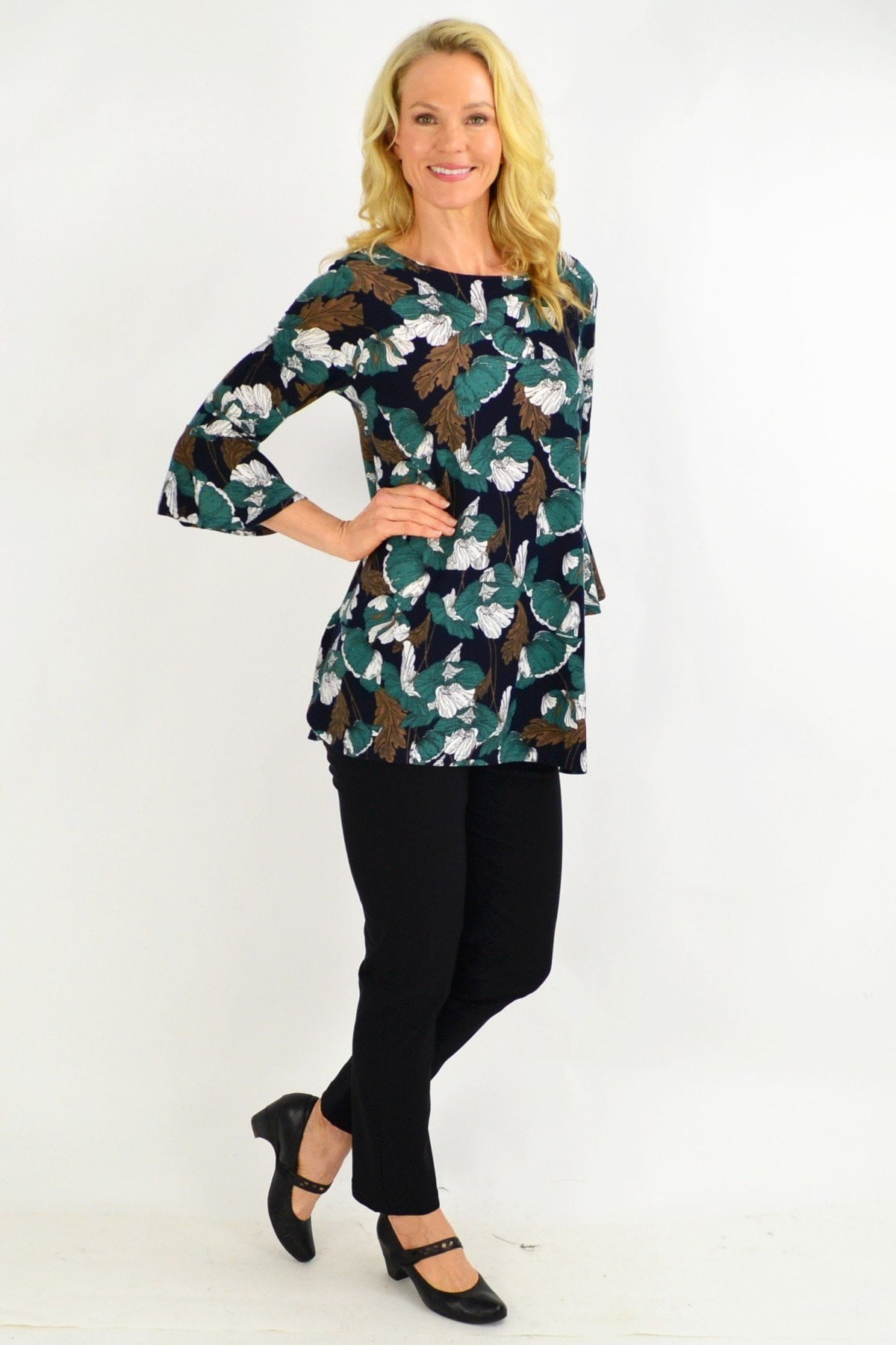 Green Floral Boat Neck Tunic Top | I Love Tunics | Tunic Tops | Tunic | Tunic Dresses  | womens clothing online