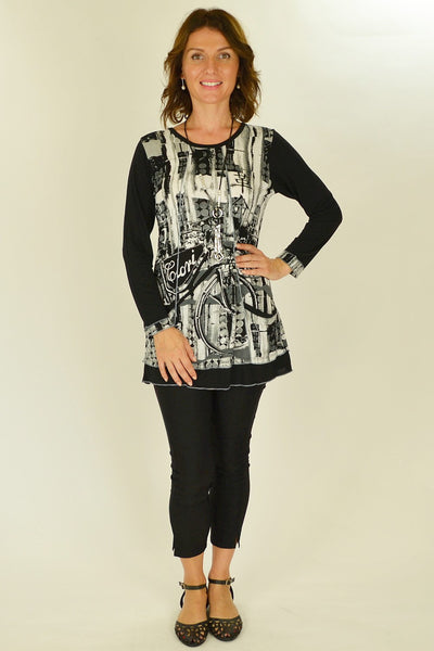 Black White Splash Tunic Top