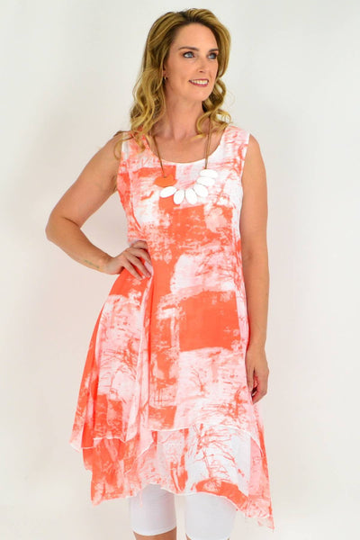 Orange Mandy Linen Cotton Tunic Dress