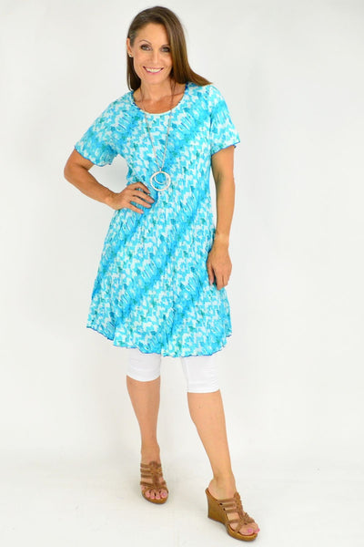Aqua Abstract Reversible Tunic Dress by Orientique | I Love Tunics | Tunic Tops | Tunic Dresses | Women's Tops | Plus Size Australia | Mature Fashion