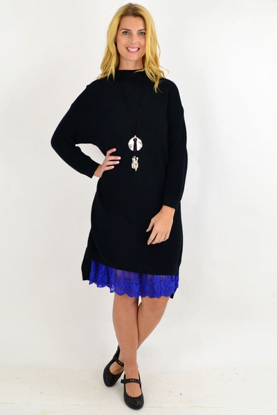 Black Ribbed Knit Tunic Dress By Orientique