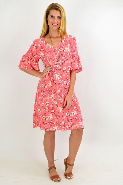 Pink Pretty Fluted Cuff Floral Tunic Dress | I Love Tunics | Tunic Tops | Tunic | Tunic Dresses  | womens clothing online