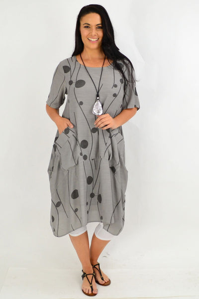 Grey Debs Dots Bubble Tunic Dress
