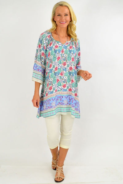 Green Blue Light & Pretty Tunic Top