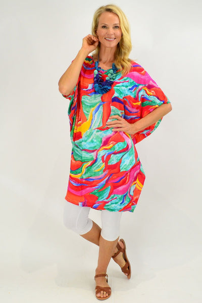Tropical Swirl Relaxed Tunic Dress