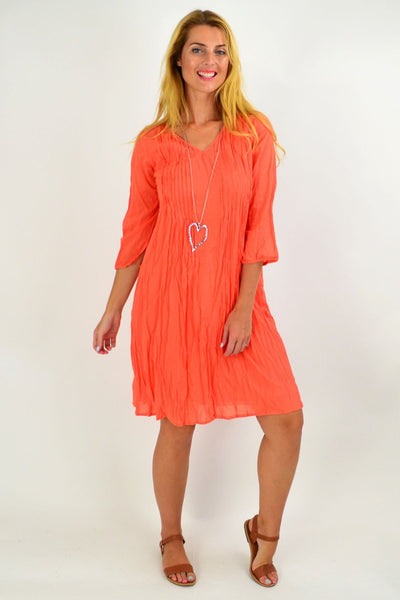 Orange Alice Crinkle Cotton Tunic Dress | I Love Tunics | Tunic Tops | Tunic | Tunic Dresses  | womens clothing online