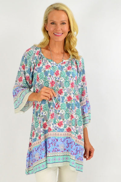 Green Blue Light & Pretty Tunic Top | I Love Tunics | Tunic Tops | Tunic | Tunic Dresses  | womens clothing online