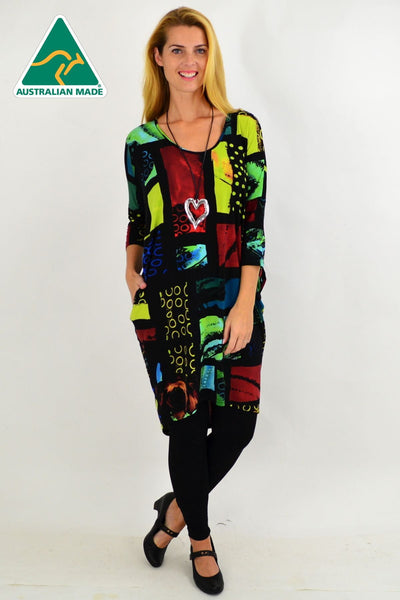 Multicolour Box Hi Low Tunic Dress