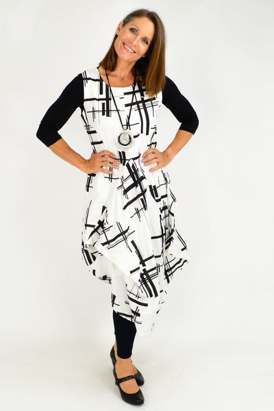 White Coby Panel Cotton Tunic Dress